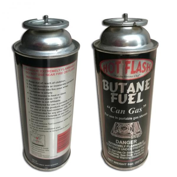 refill empty butane gas cartridge canister can cylinder